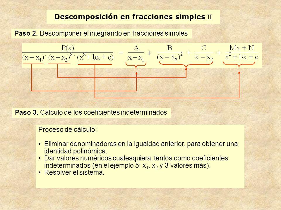 Descomposición en fracciones simples II Paso 2.