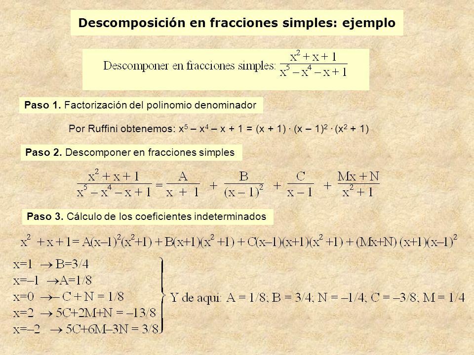 Descomposición en fracciones simples: ejemplo Paso 1.