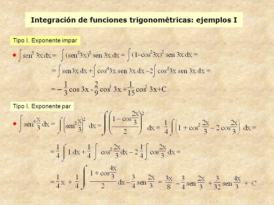 Integración de funciones trigonométricas: ejemplos I = – 1 3 cos 3x - 2 9 cos 3 3x + 1 15 cos 5 3x+C Tipo I.