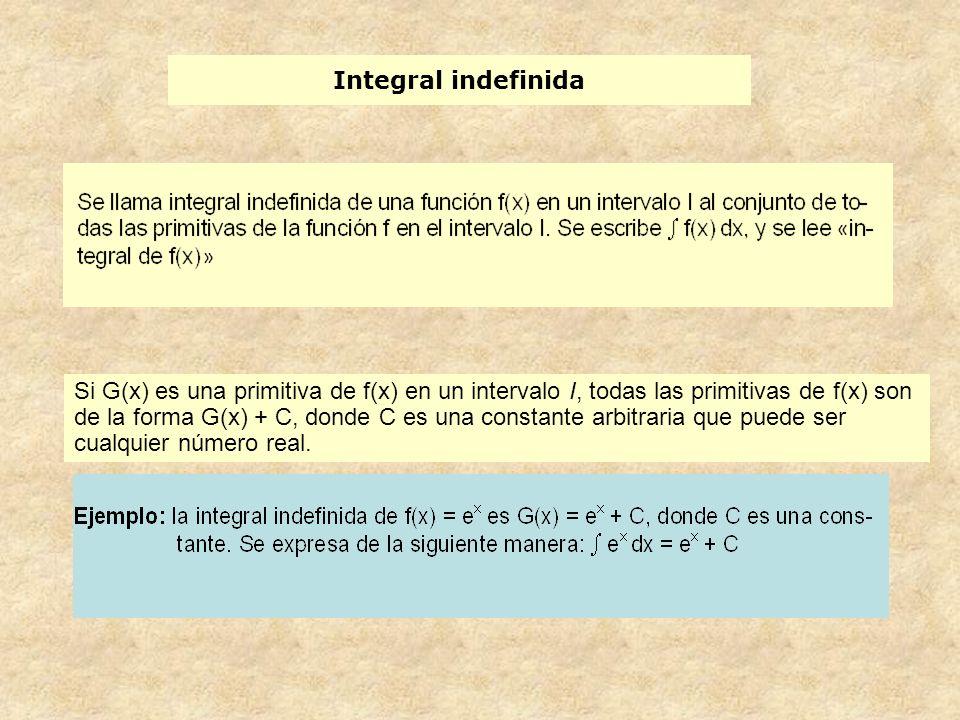 Integral indefinida Si G(x) es una primitiva de f(x) en un intervalo I, todas las primitivas de f(x) son de la forma G(x) + C, donde C es una constante arbitraria que puede ser cualquier número real.