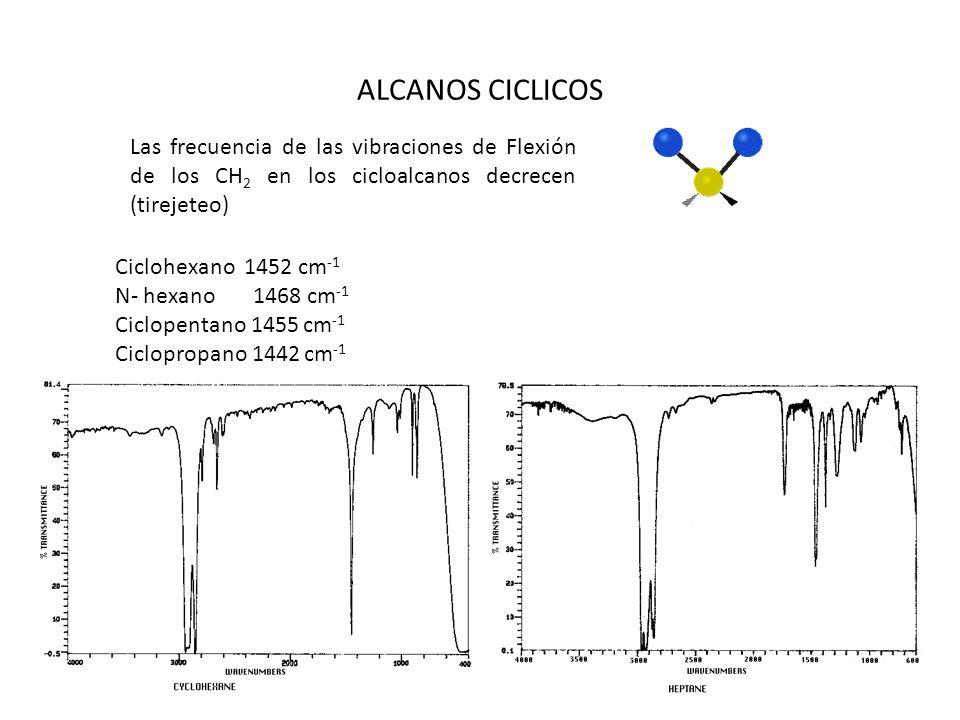 ALCANOS CICLICOS Las frecuencia de las vibraciones de Flexión de los CH 2 en los cicloalcanos decrecen (tirejeteo) Ciclohexano 1452 cm -1 N- hexano 14