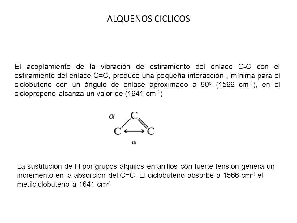 El acoplamiento de la vibración de estiramiento del enlace C-C con el estiramiento del enlace C=C, produce una pequeña interacción, mínima para el cic