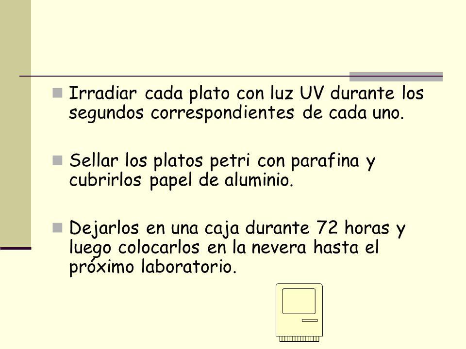 Cada mesa tendrá una dilución diferente (10 -2, 10 -3, 10 -4 ) Por grupo, transferir.4 mL de la dilución correspondiente a cada uno de los 4 platos petri 0 seg.