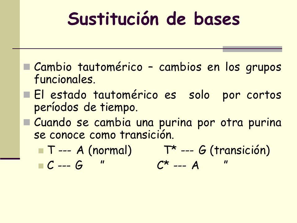 Sustitución de bases Cambio tautomérico – cambios en los grupos funcionales.