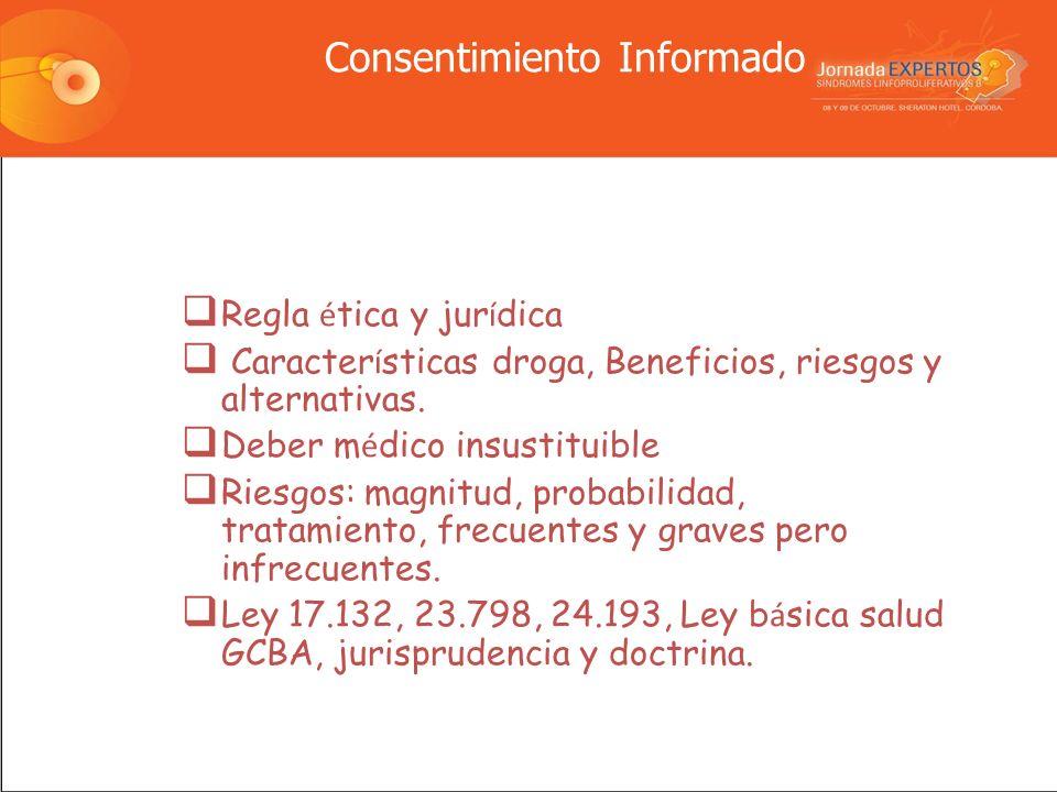 Consentimiento Informado Regla é tica y jur í dica Caracter í sticas droga, Beneficios, riesgos y alternativas.