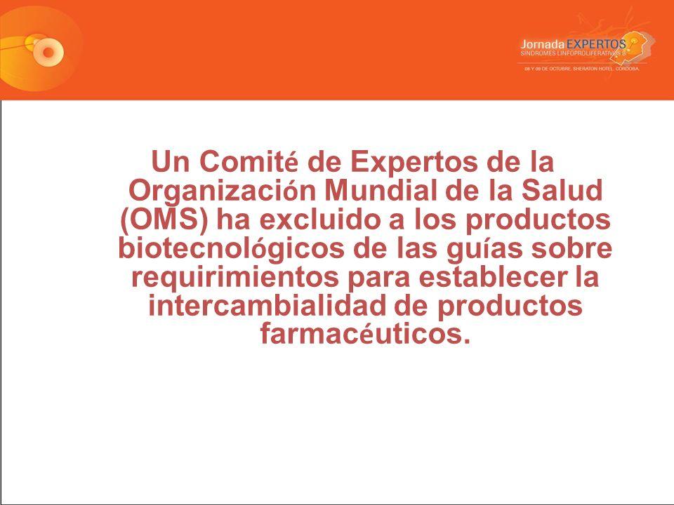 Un Comit é de Expertos de la Organizaci ó n Mundial de la Salud (OMS) ha excluido a los productos biotecnol ó gicos de las gu í as sobre requirimientos para establecer la intercambialidad de productos farmac é uticos.