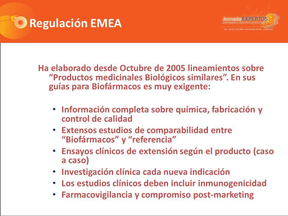 Regulación EMEA Ha elaborado desde Octubre de 2005 lineamientos sobre Productos medicinales Biológicos similares.