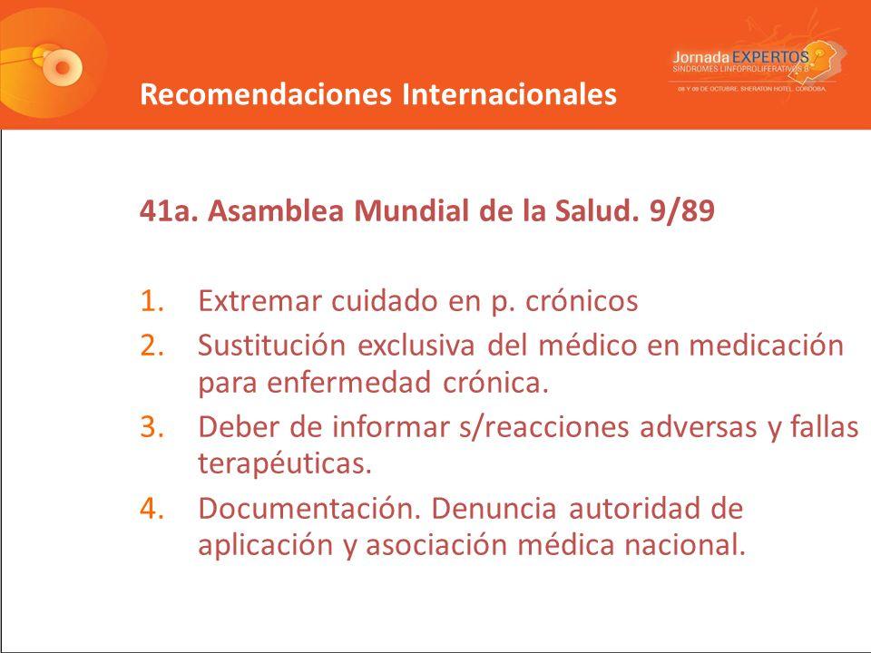 Recomendaciones Internacionales 41a.Asamblea Mundial de la Salud.