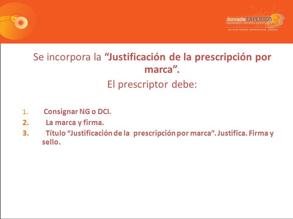 Se incorpora la Justificación de la prescripción por marca.