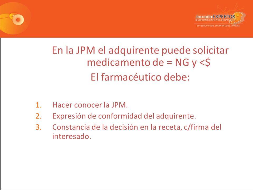 En la JPM el adquirente puede solicitar medicamento de = NG y <$ El farmacéutico debe: 1.Hacer conocer la JPM.