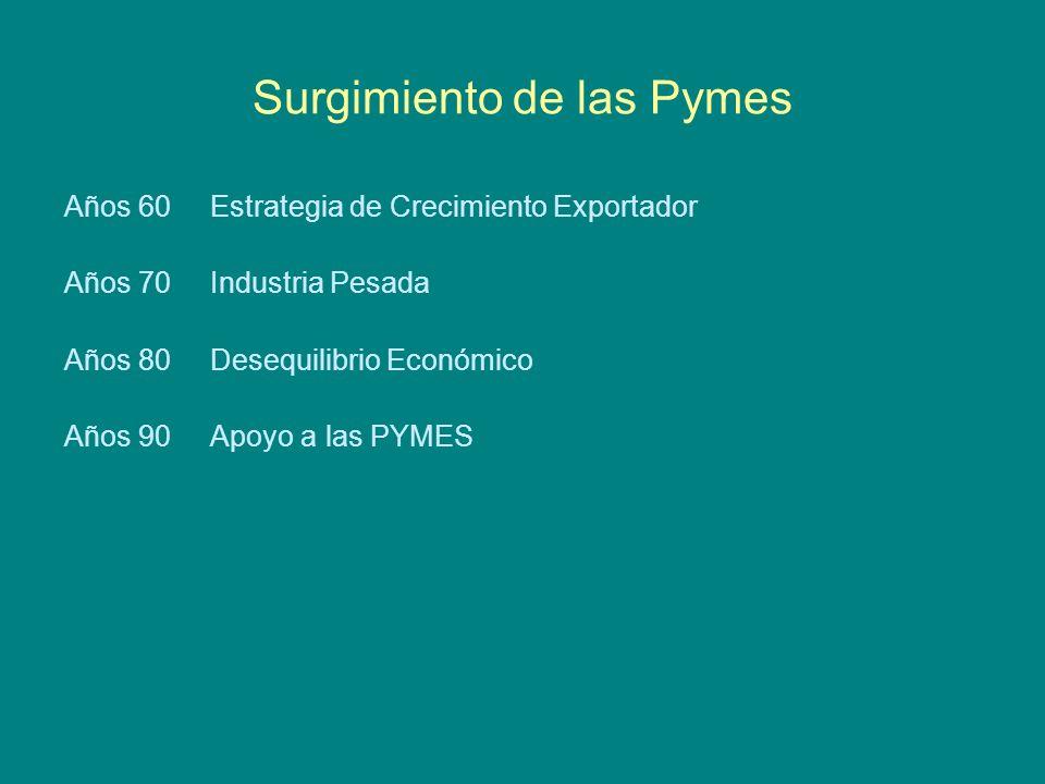 Surgimiento de las Pymes Años 60 Estrategia de Crecimiento Exportador Años 70 Industria Pesada Años 80 Desequilibrio Económico Años 90 Apoyo a las PYMES