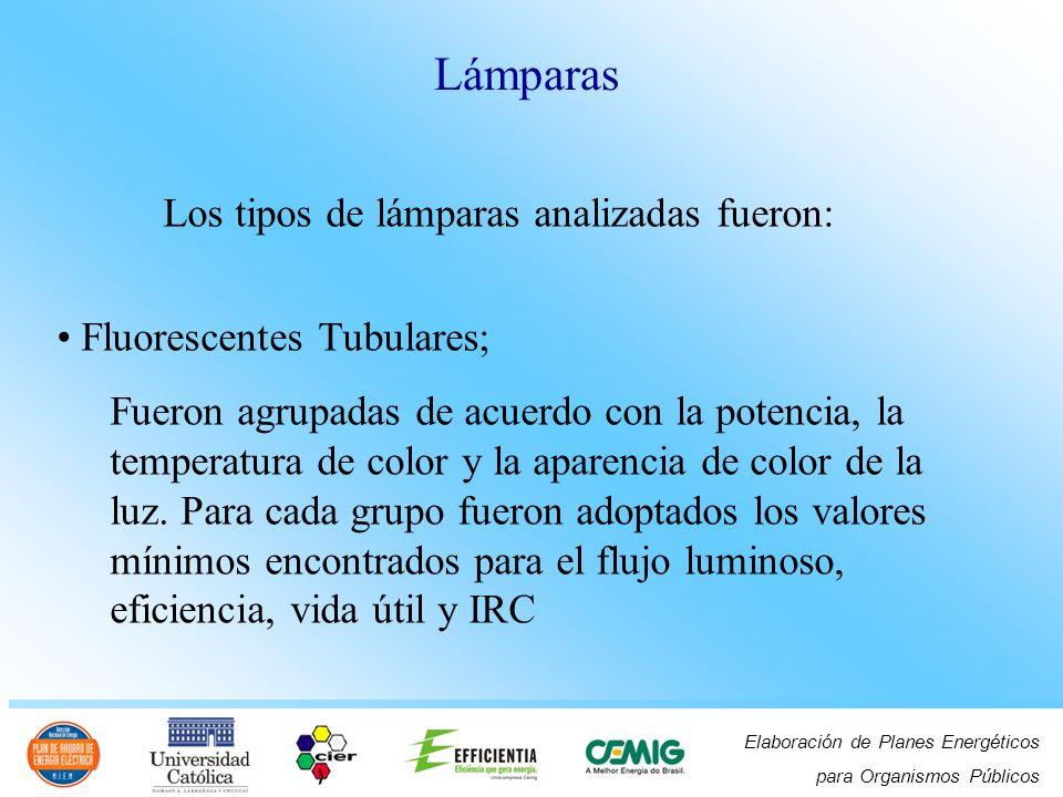 Elaboración de Planes Energéticos para Organismos Públicos Los tipos de lámparas analizadas fueron: Fluorescentes Tubulares; Fueron agrupadas de acuer