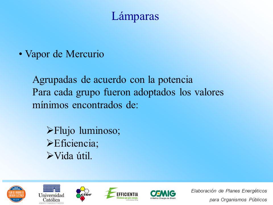 Elaboración de Planes Energéticos para Organismos Públicos Vapor de Mercurio Agrupadas de acuerdo con la potencia Para cada grupo fueron adoptados los