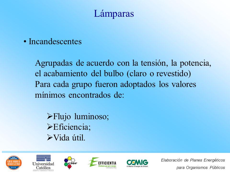 Elaboración de Planes Energéticos para Organismos Públicos Incandescentes Agrupadas de acuerdo con la tensión, la potencia, el acabamiento del bulbo (