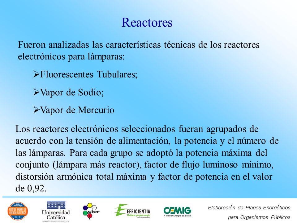 Elaboración de Planes Energéticos para Organismos Públicos Fueron analizadas las características técnicas de los reactores electrónicos para lámparas: