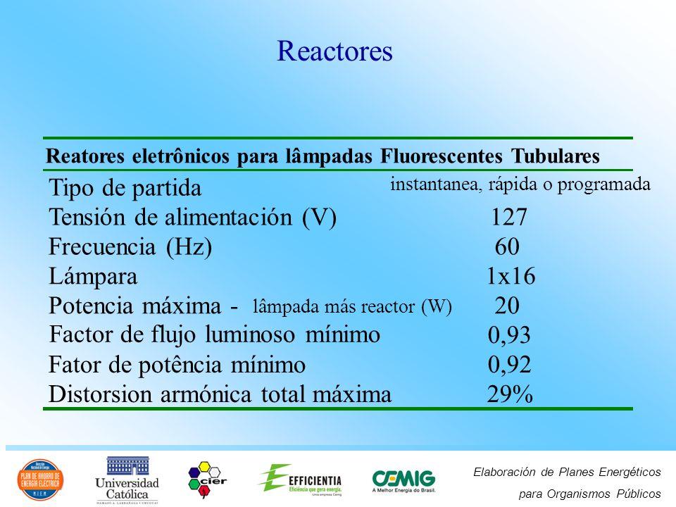 Elaboración de Planes Energéticos para Organismos Públicos Reatores eletrônicos para lâmpadas Fluorescentes Tubulares Tipo de partida instantanea, ráp