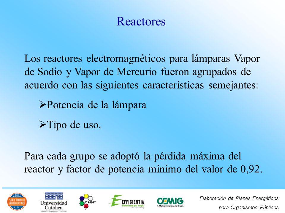 Elaboración de Planes Energéticos para Organismos Públicos Los reactores electromagnéticos para lámparas Vapor de Sodio y Vapor de Mercurio fueron agr