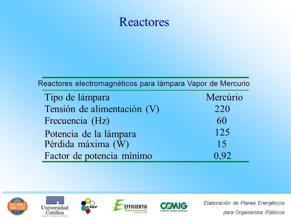 Elaboración de Planes Energéticos para Organismos Públicos Reactores electromagnéticos para lámpara Vapor de Mercurio Tipo de lámpara Mercúrio Tensión