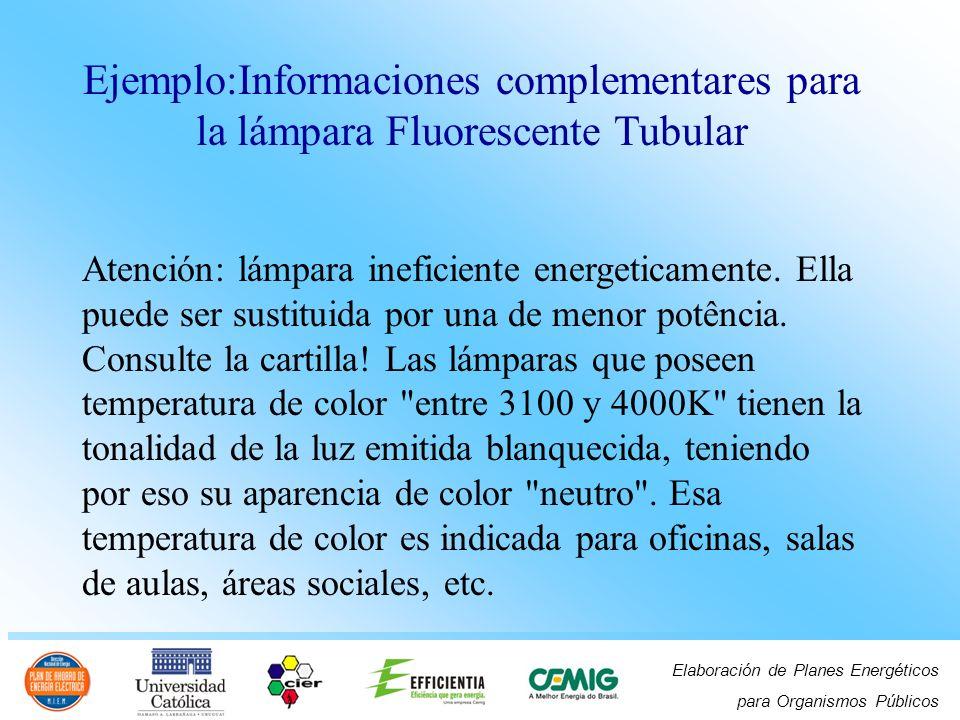 Elaboración de Planes Energéticos para Organismos Públicos Ejemplo:Informaciones complementares para la lámpara Fluorescente Tubular Atención: lámpara