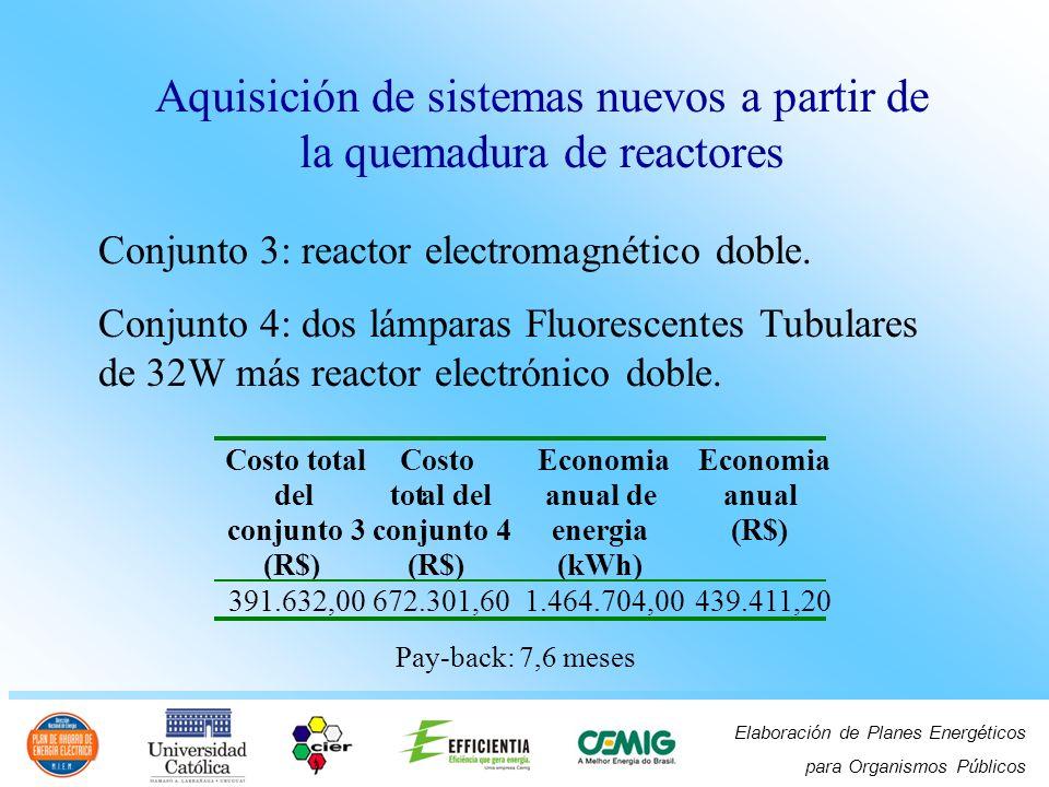 Elaboración de Planes Energéticos para Organismos Públicos Aquisición de sistemas nuevos a partir de la quemadura de reactores Conjunto 3: reactor ele