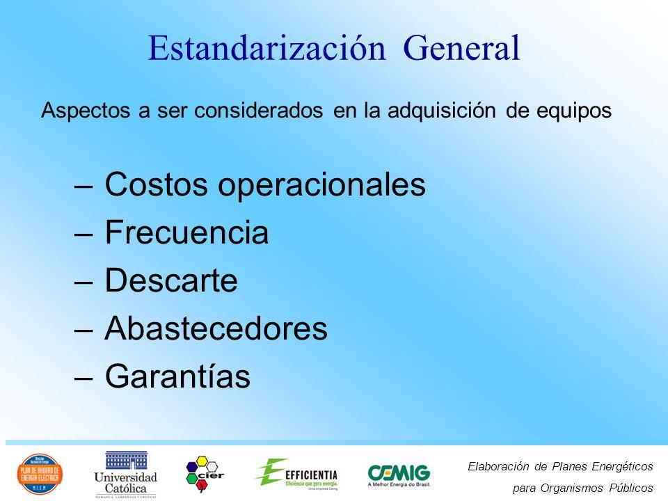 Elaboración de Planes Energéticos para Organismos Públicos Estructura institucional Sectores o áreas abarcados – especificación – aprobación – evaluacion – adquisición – recibimiento Estandarización General