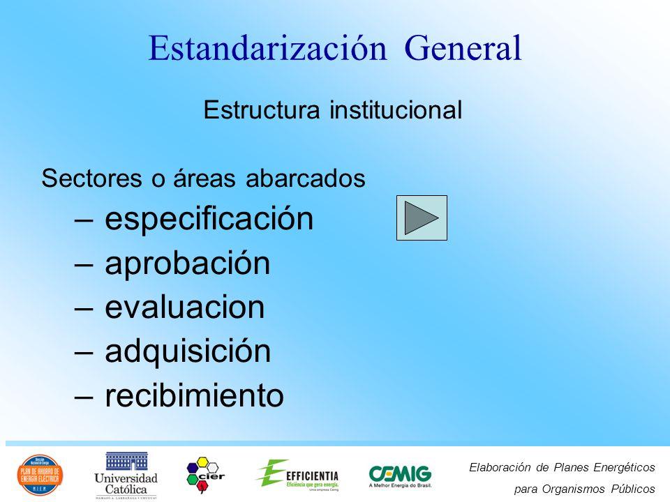 Elaboración de Planes Energéticos para Organismos Públicos Estructura institucional Sectores o áreas abarcados – test – operación – manutención – descarte y – medio ambiente Estandarización General