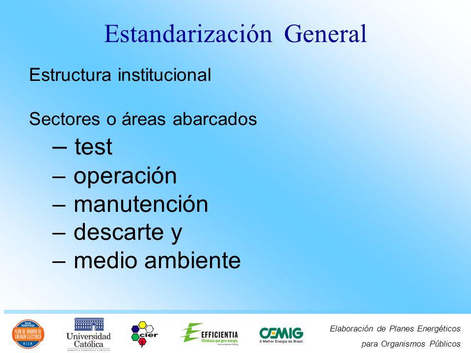 Elaboración de Planes Energéticos para Organismos Públicos Estructura institucional Sectores o áreas abarcados – test – operación – manutención – desc