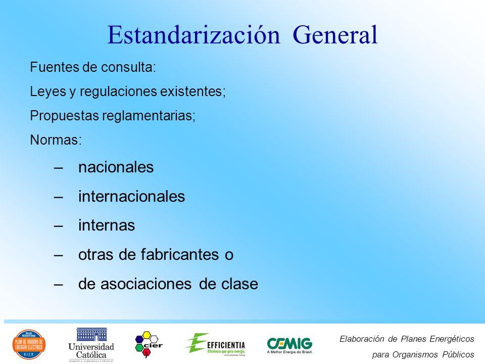 Elaboración de Planes Energéticos para Organismos Públicos Fuentes de consulta: Leyes y regulaciones existentes; Propuestas reglamentarias; Normas: –n