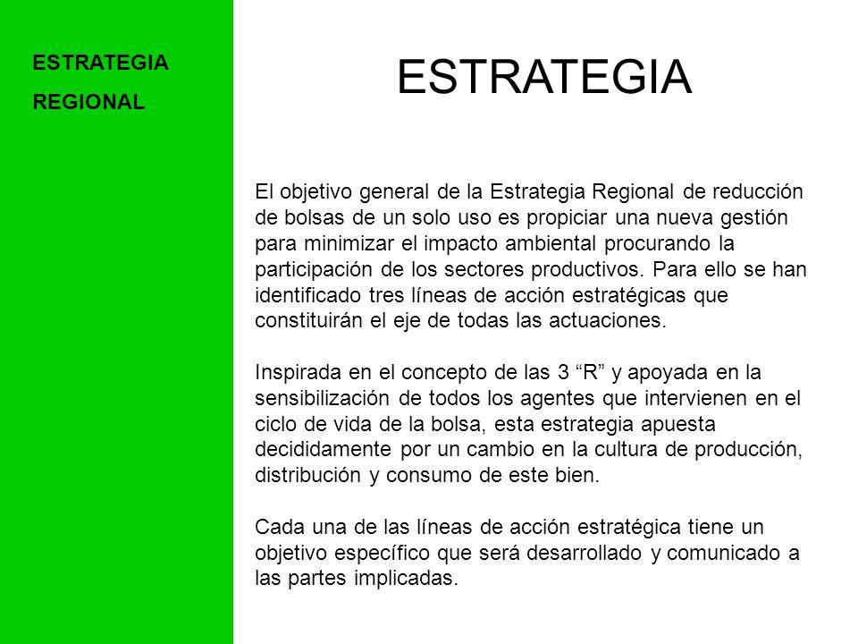 ESTRATEGIA El objetivo general de la Estrategia Regional de reducción de bolsas de un solo uso es propiciar una nueva gestión para minimizar el impacto ambiental procurando la participación de los sectores productivos.