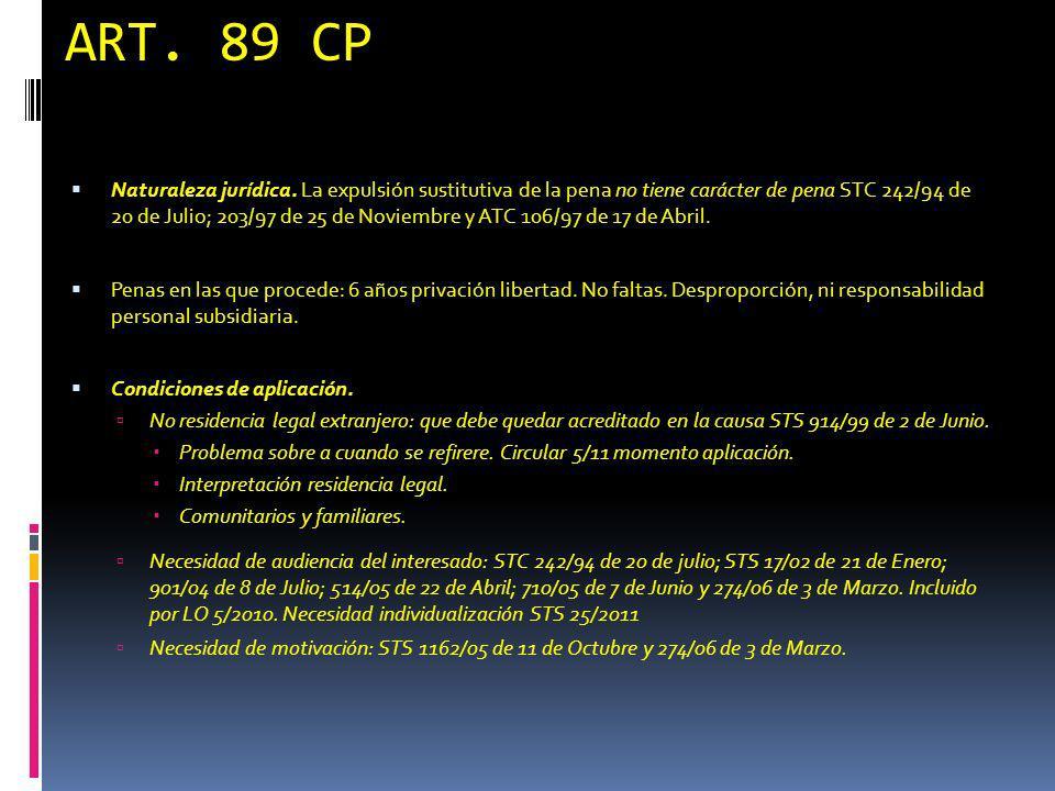 ART. 89 CP Naturaleza jurídica. La expulsión sustitutiva de la pena no tiene carácter de pena STC 242/94 de 20 de Julio; 203/97 de 25 de Noviembre y A
