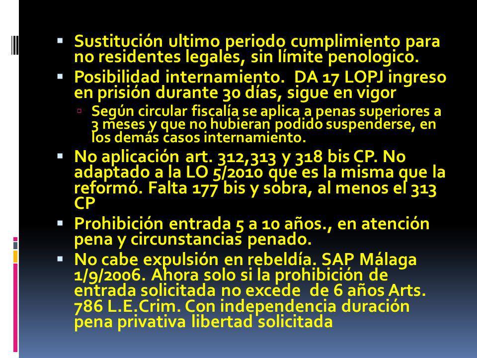 Sustitución ultimo periodo cumplimiento para no residentes legales, sin límite penologico. Posibilidad internamiento. DA 17 LOPJ ingreso en prisión du