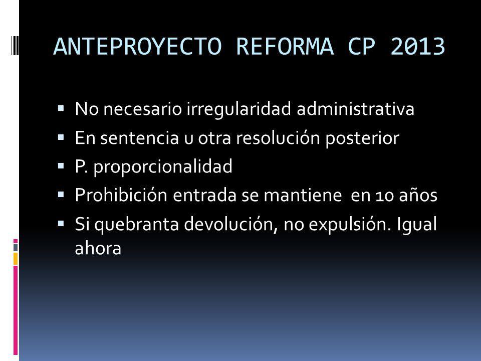 ANTEPROYECTO REFORMA CP 2013 No necesario irregularidad administrativa En sentencia u otra resolución posterior P. proporcionalidad Prohibición entrad