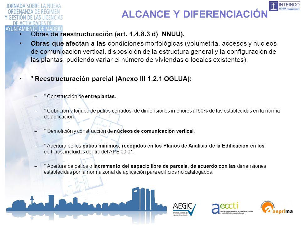 ALCANCE Y DIFERENCIACIÓN Obras de reestructuración (art. 1.4.8.3 d) NNUU). Obras que afectan a las condiciones morfológicas (volumetría, accesos y núc