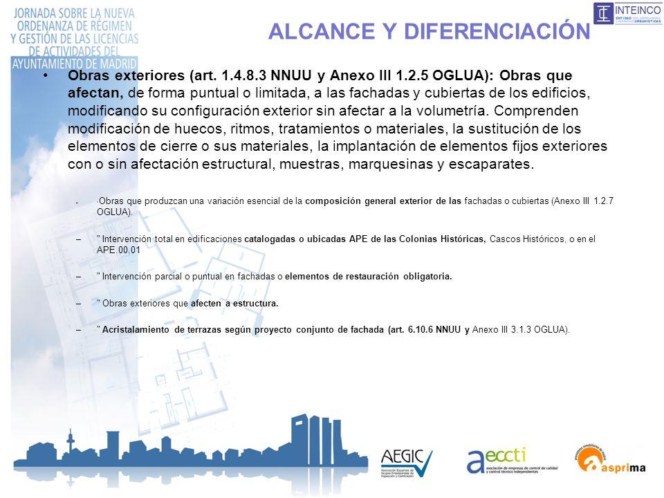 ALCANCE Y DIFERENCIACIÓN Obras exteriores (art. 1.4.8.3 NNUU y Anexo III 1.2.5 OGLUA): Obras que afectan, de forma puntual o limitada, a las fachadas