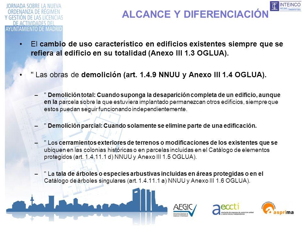 ALCANCE Y DIFERENCIACIÓN El cambio de uso característico en edificios existentes siempre que se refiera al edificio en su totalidad (Anexo III 1.3 OGL