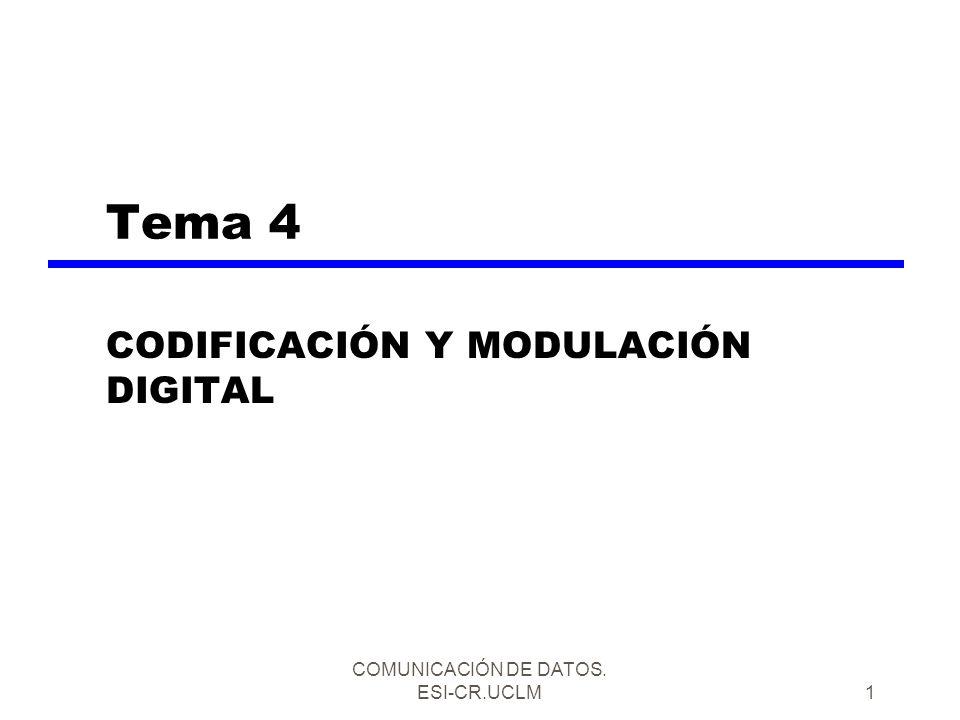 COMUNICACIÓN DE DATOS. ESI-CR.UCLM1 Tema 4 CODIFICACIÓN Y MODULACIÓN DIGITAL