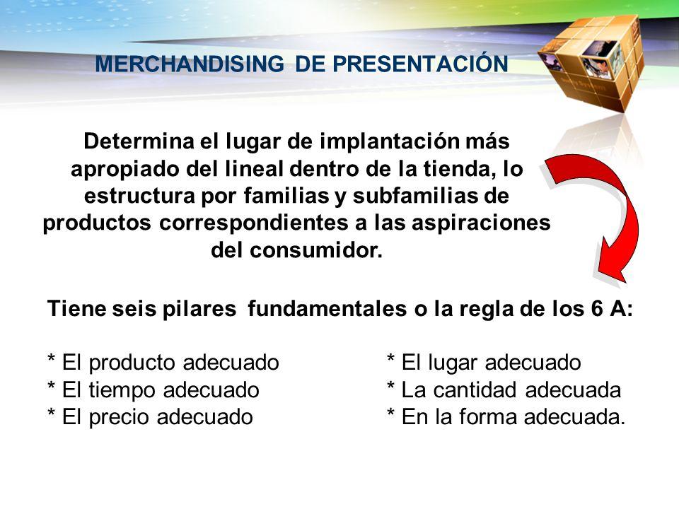 MERCHANDISING DE PRESENTACIÓN Tiene seis pilares fundamentales o la regla de los 6 A: * El producto adecuado* El lugar adecuado * El tiempo adecuado*