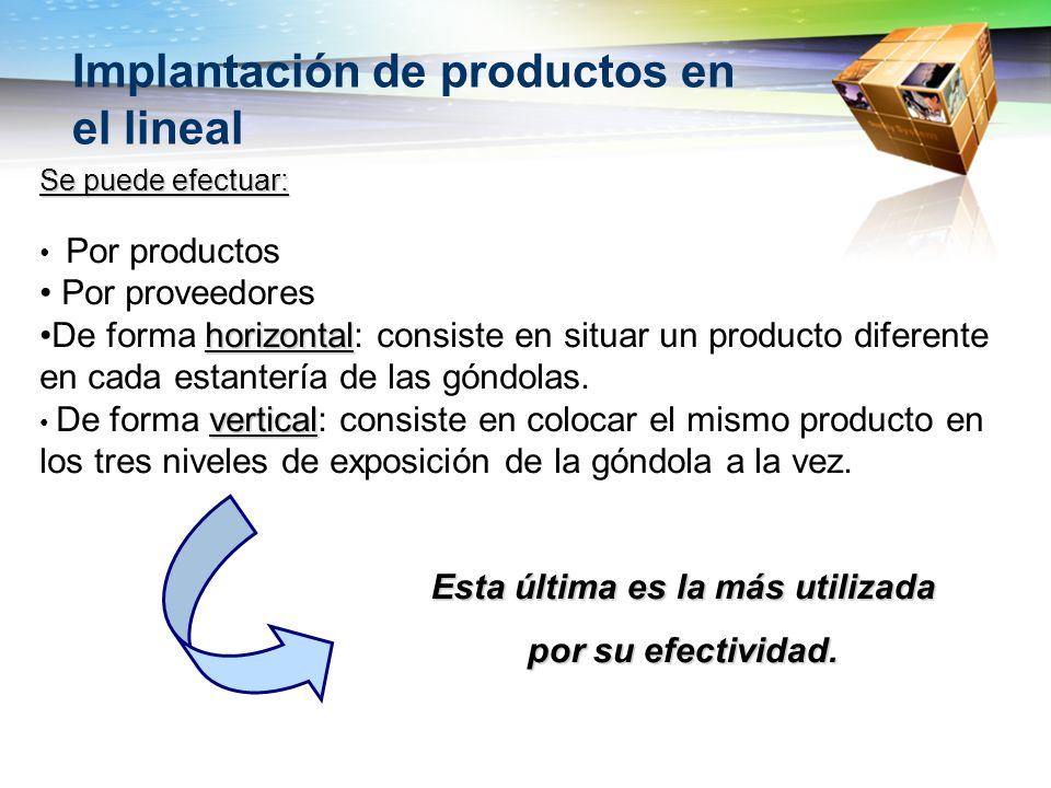 Implantación de productos en el lineal Se puede efectuar: Por productos Por proveedores horizontalDe forma horizontal: consiste en situar un producto