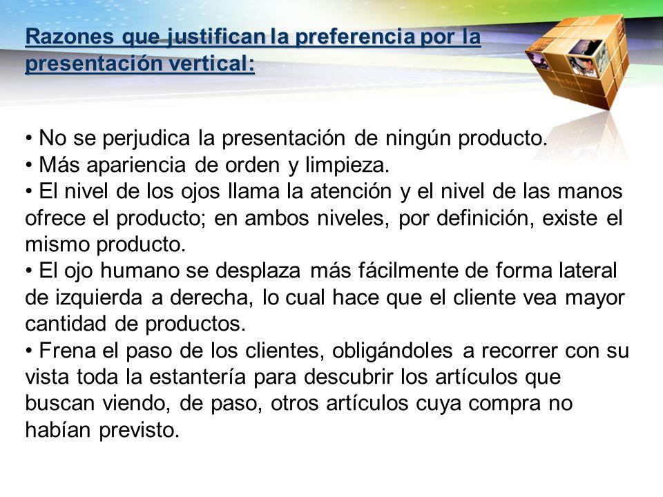 Razones que justifican la preferencia por la presentación vertical: No se perjudica la presentación de ningún producto. Más apariencia de orden y limp
