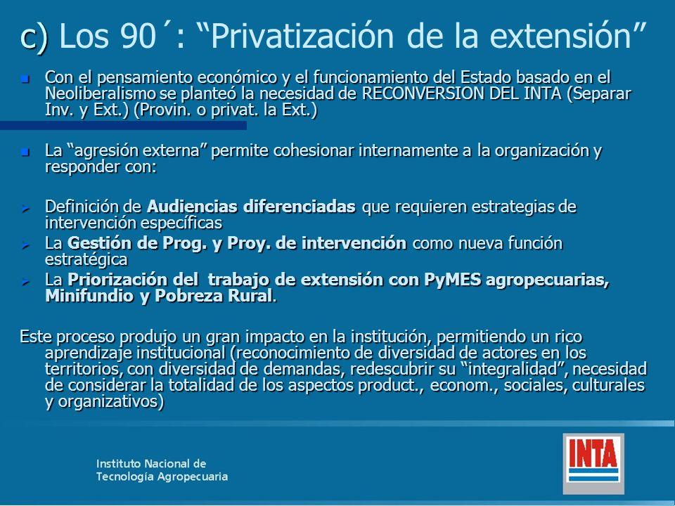 c) c) Los 90´: Privatización de la extensión n Con el pensamiento económico y el funcionamiento del Estado basado en el Neoliberalismo se planteó la necesidad de RECONVERSION DEL INTA (Separar Inv.
