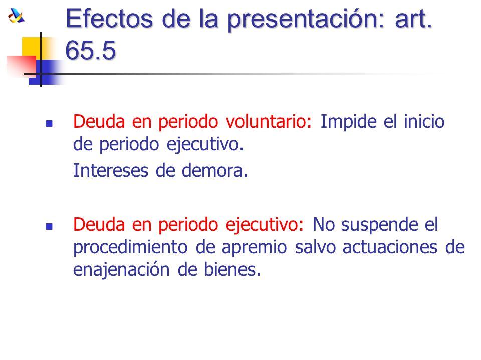 Efectos de la presentación: art. 65.5 Deuda en periodo voluntario: Impide el inicio de periodo ejecutivo. Intereses de demora. Deuda en periodo ejecut