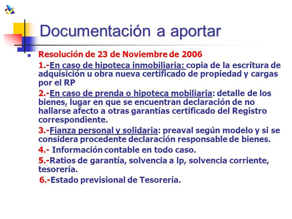 Documentación a aportar Resolución de 23 de Noviembre de 2006 1.-En caso de hipoteca inmobiliaria: copia de la escritura de adquisición u obra nueva c