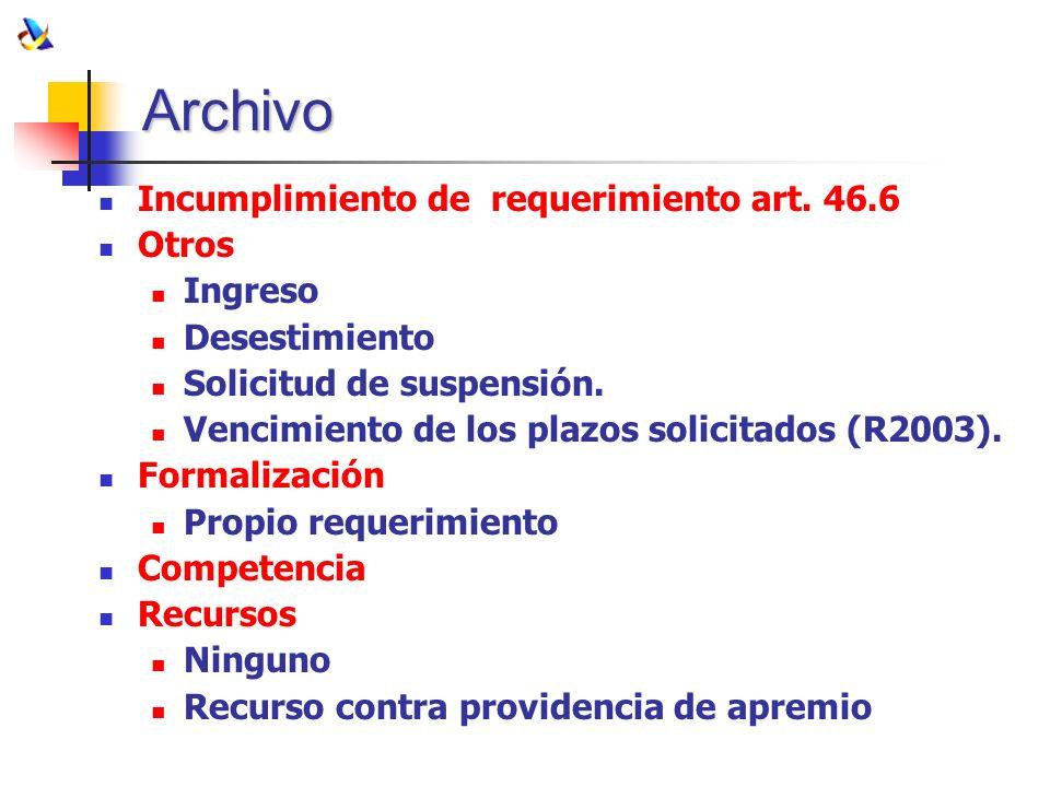 Archivo Incumplimiento de requerimiento art. 46.6 Otros Ingreso Desestimiento Solicitud de suspensión. Vencimiento de los plazos solicitados (R2003).
