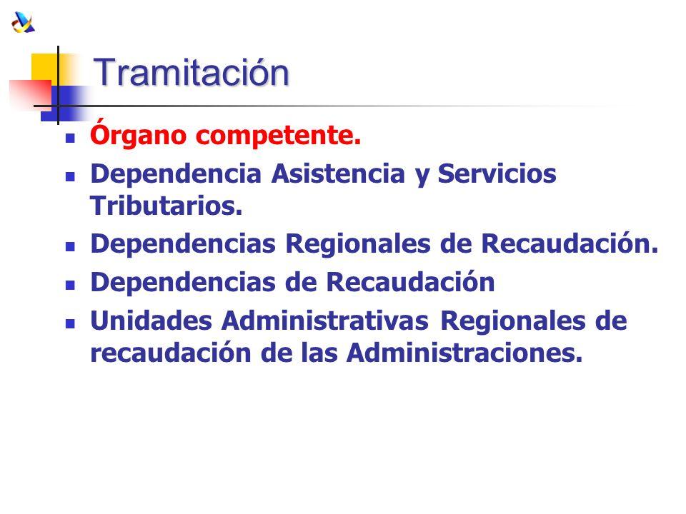 Tramitación Órgano competente. Dependencia Asistencia y Servicios Tributarios. Dependencias Regionales de Recaudación. Dependencias de Recaudación Uni