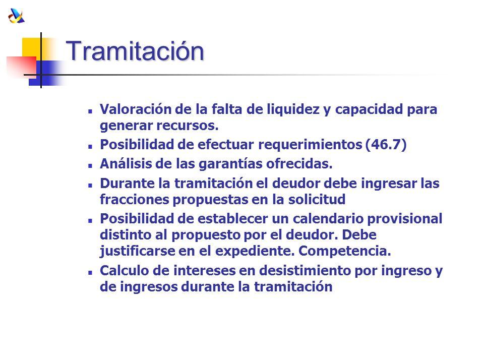 Tramitación Valoración de la falta de liquidez y capacidad para generar recursos. Posibilidad de efectuar requerimientos (46.7) Análisis de las garant