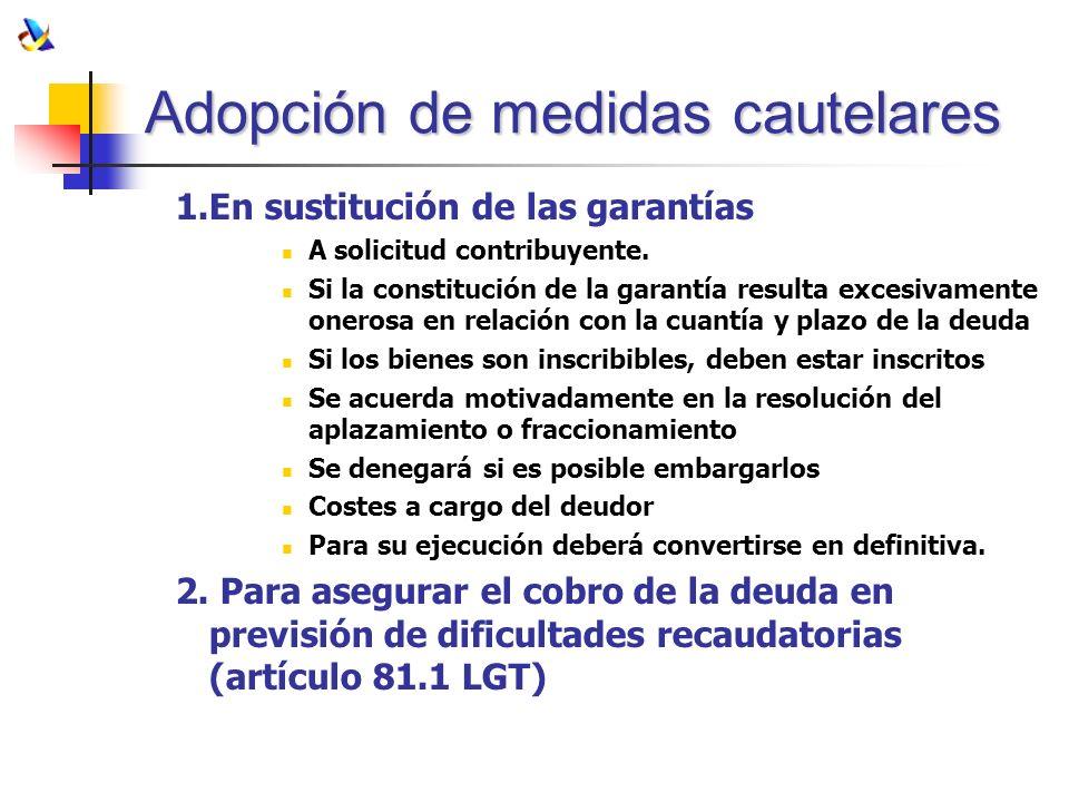 Adopción de medidas cautelares 1.En sustitución de las garantías A solicitud contribuyente. Si la constitución de la garantía resulta excesivamente on