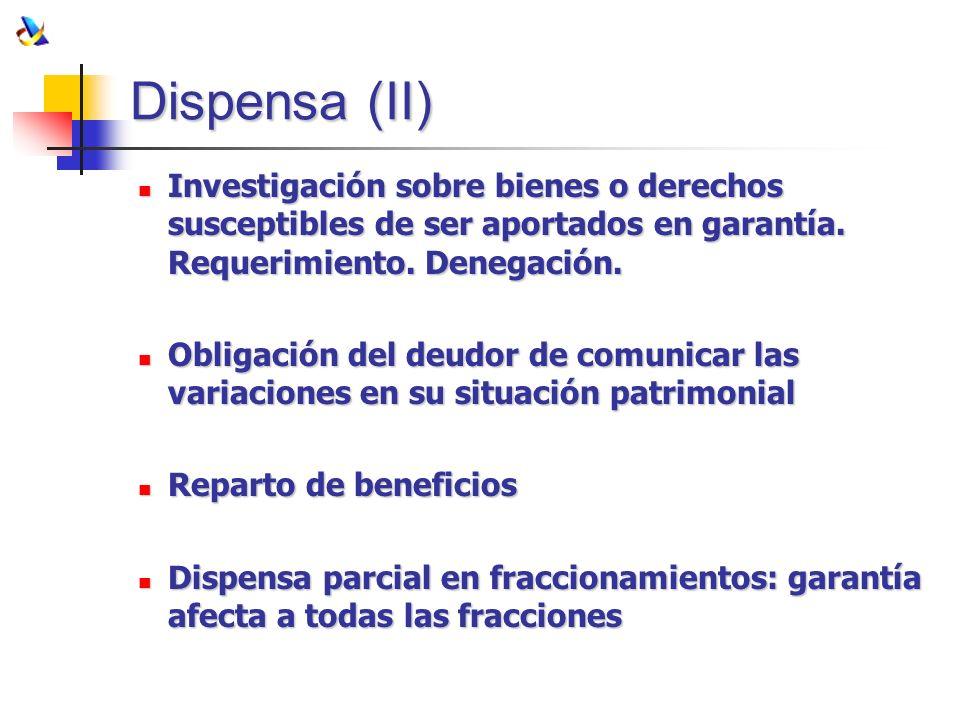 Dispensa (II) Investigación sobre bienes o derechos susceptibles de ser aportados en garantía. Requerimiento. Denegación. Investigación sobre bienes o