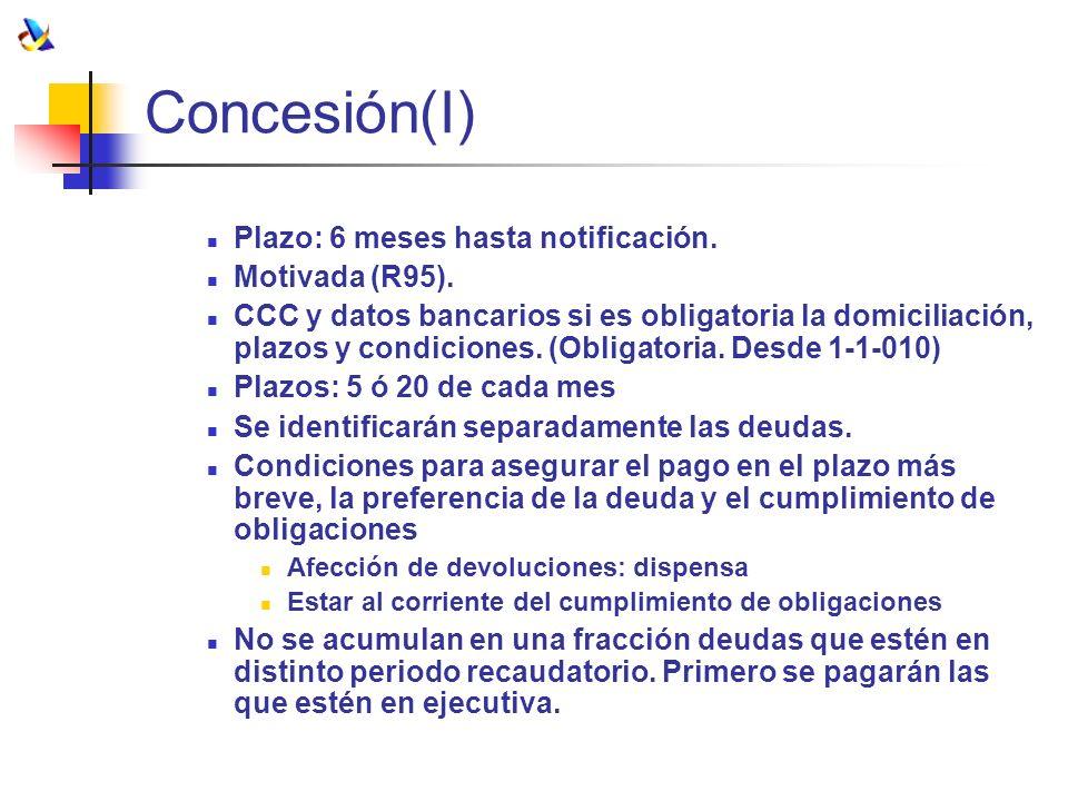 Concesión(I) Plazo: 6 meses hasta notificación. Motivada (R95). CCC y datos bancarios si es obligatoria la domiciliación, plazos y condiciones. (Oblig