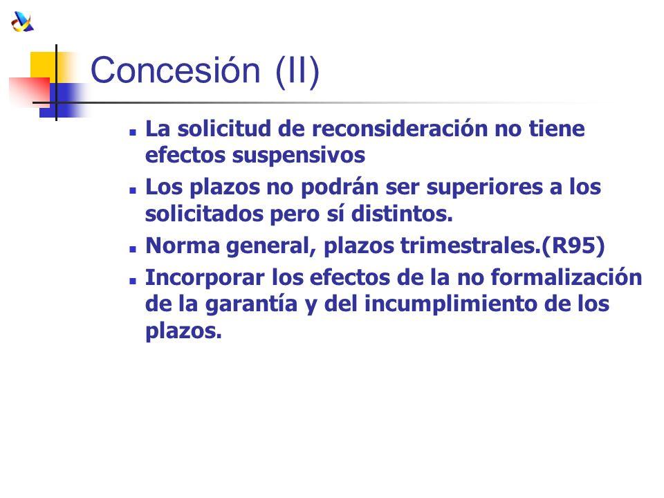 Concesión (II) La solicitud de reconsideración no tiene efectos suspensivos Los plazos no podrán ser superiores a los solicitados pero sí distintos. N