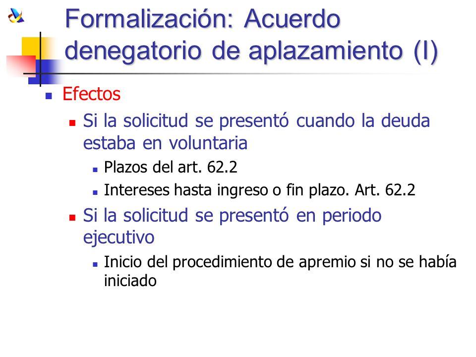 Formalización: Acuerdo denegatorio de aplazamiento (I) Efectos Si la solicitud se presentó cuando la deuda estaba en voluntaria Plazos del art. 62.2 I